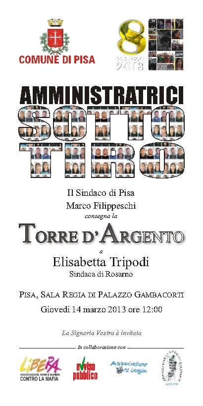 """Consegna della """"Torre d'Argento"""" ad Elisabettta TRIPODI, Sindaca di Rosarno"""
