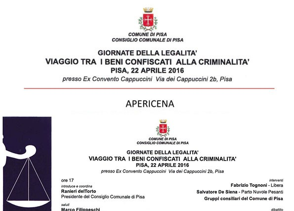 Giornata della legalità e Apericena – Pisa 22 Aprile 2016