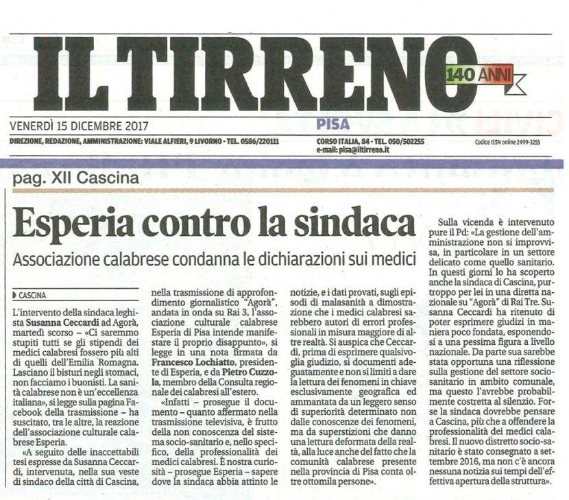 Esperia, l'associazione  culturale dei calabresi di Pisa risponde al Sindaco di Cascina