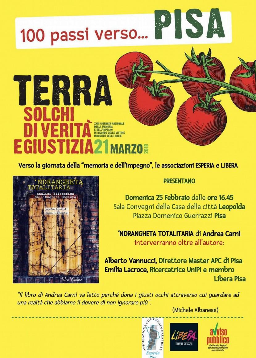 "25 febbraio 2018: "" Ndrangheta totalitaria"" di Andrea Carnì"