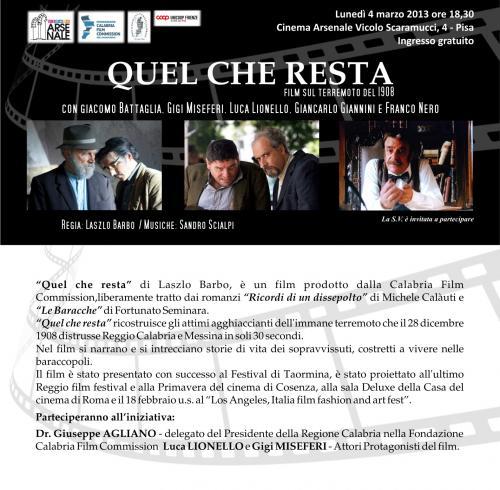 """Cinema Arsenale, 4 Marzo 2013 ore 18.30, Proiezione film """"Quel che resta"""""""