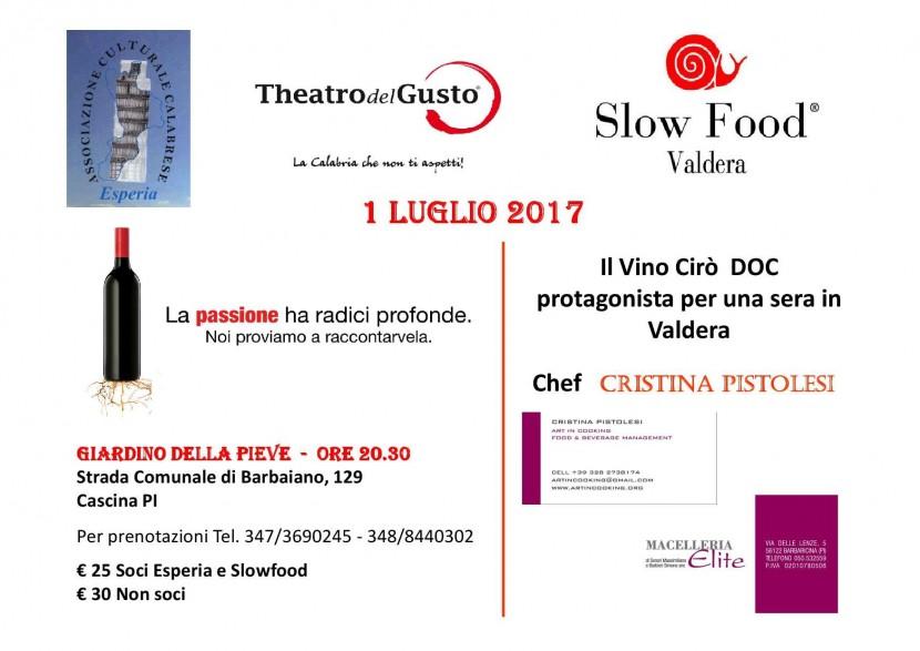 Il CIrò in Toscana : una serata insieme a Slow Food Valdera e Esperia il 1° luglio a Badia di Cascina