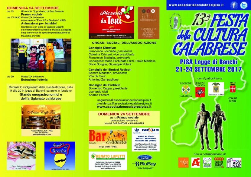 Festa Cultura Calabrese 2017 – Programma