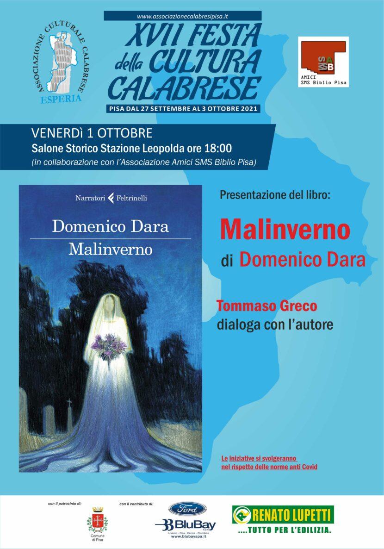Venerdì 1 ottobre presentazione  libro Malinverno di Domenico Dara